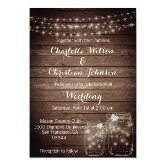 Wood郡の素朴な石大工は結婚式招待状をつけます カード