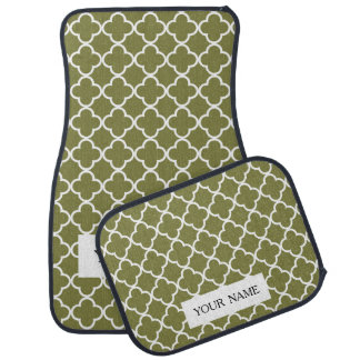 Woodbineの緑の白いクローバーのモトッコ人パターン カーマット