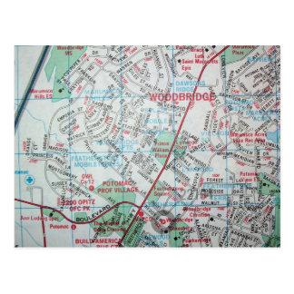 WOODBRIDGEのVAのヴィンテージの地図の郵便はがき ポストカード