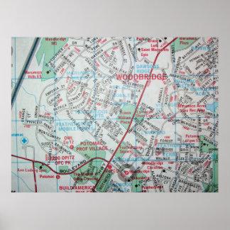 WoodbridgeのVAのヴィンテージの地図ポスター ポスター