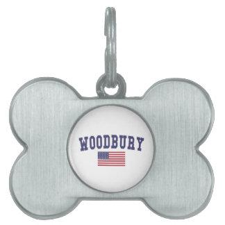 Woodbury米国の旗 ペットネームタグ