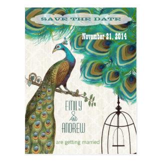 Woodgrainの格子孔雀の鳥かごの保存日付 ポストカード