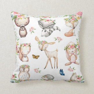 Woodland Boho Fox Deer Bunny Nursery Pillow クッション