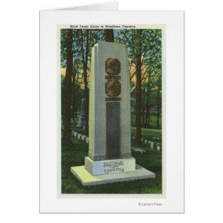 Woodlawnの墓地、マーク・トウェインの墓石場面 カード