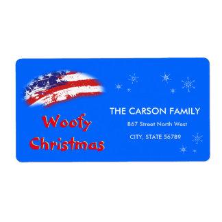 Woofyのクリスマス米国の赤白青の旗 ラベル