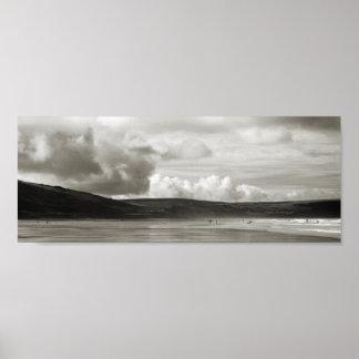 Woolacombeのビーチ、デボン、イギリス ポスター