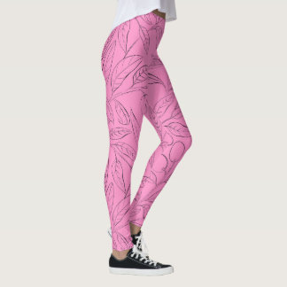 Workout leggings in pink floral pattern レギンス