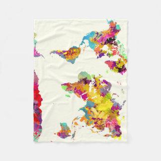 world map colors フリースブランケット