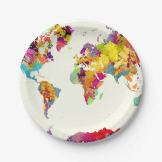 world map colors ペーパープレート