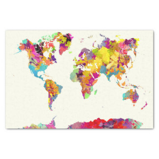 world map colors 薄葉紙