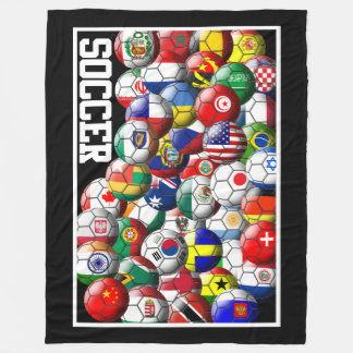 World Soccer Balls フリースブランケット