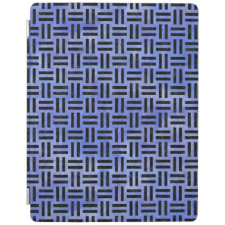WOVEN1黒い大理石及び青い水彩画(R) iPadスマートカバー