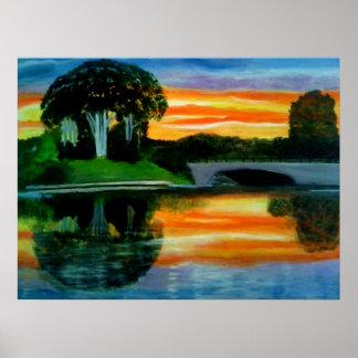 WOWの要因日没の油絵ポスター ポスター