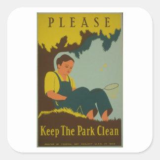 WPA -公園をきれい保って下さい スクエアシール