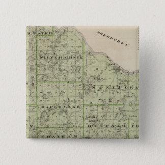 Wright郡、ミネソタの地図 5.1cm 正方形バッジ