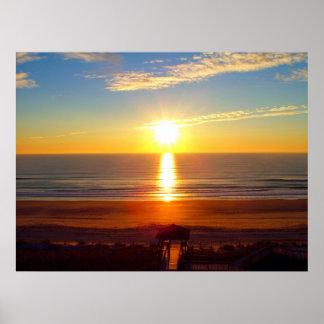 Wrightsvilleのビーチの日の出 ポスター