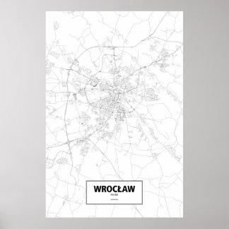 Wrocław、ポーランド(白の黒) ポスター