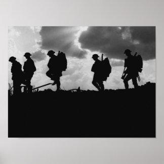 WW1兵士のシルエット- Broodseindeの戦い ポスター