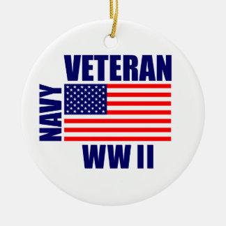 WW II海軍退役軍人のクリスマスのオーナメント セラミックオーナメント