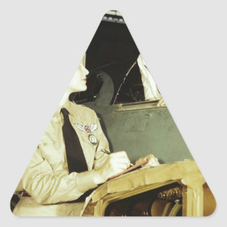 WWIIの間の仕事場の女性 三角形シール
