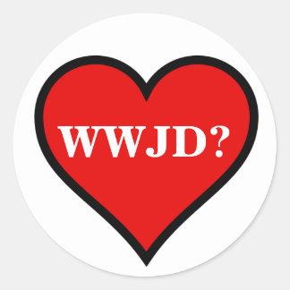 WWJDのハート ラウンドシール