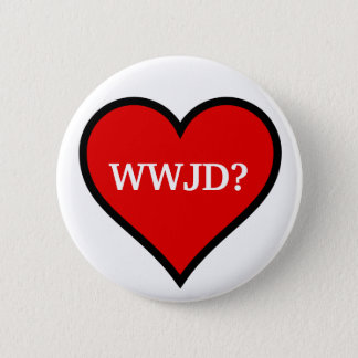 WWJDのハート 5.7CM 丸型バッジ