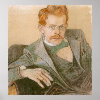 WyspianskiのJozef Mehoffer 1898年のポートレート ポスター