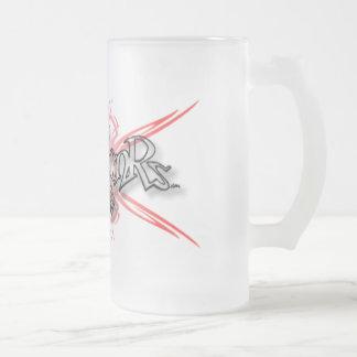 - xによって曇らされるマグ001 -種族のスカル フロストグラスビールジョッキ