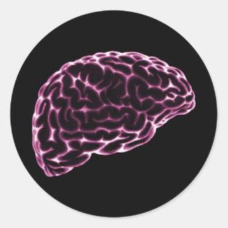 X線の頭脳の側面図のピンク ラウンドシール