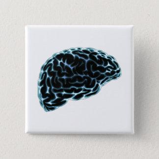 X線の頭脳の側面図の青 缶バッジ