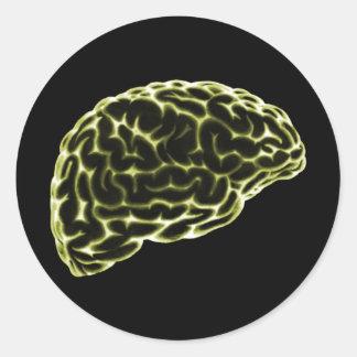 X線の頭脳の側面図の黄色 ラウンドシール