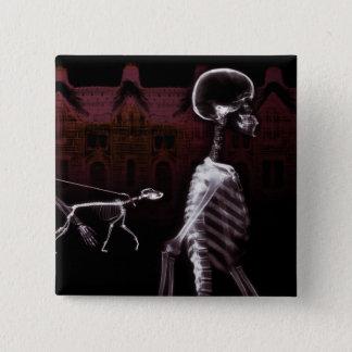X線の骨組真夜中の散歩 5.1CM 正方形バッジ