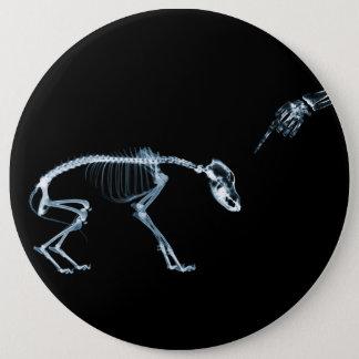 X線の骨組青く悪い犬 15.2CM 丸型バッジ