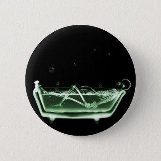 X線の骨組Bathの黒の緑 5.7cm 丸型バッジ