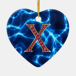 """X軽減を用いるのどの""""ルビー色の""""モノグラム セラミックオーナメント"""