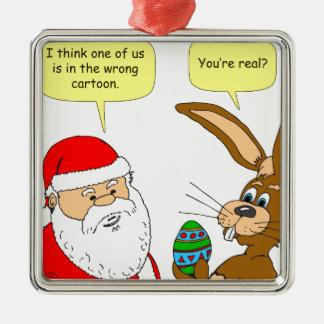 x20サンタはイースターのウサギ-漫画--に会います メタルオーナメント