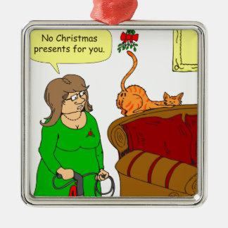 x55猫のお尻のヤドリギのクリスマスの漫画 メタルオーナメント
