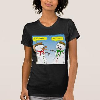 x58雪だるまの神はにんじんの漫画賛美します tシャツ