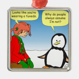 x68ペンギンのタキシードの漫画 メタルオーナメント