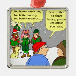 x72はクリスマスをあなたの方法漫画します メタルオーナメント