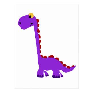 X-Yおもしろいな紫色の恐竜の原住民の芸術 ポストカード