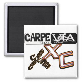 XCラテンのモットーは道- CARPEを経て-をランナー握ります マグネット