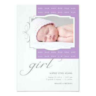 XOXの女の子のカスタムな写真の誕生の発表 カード