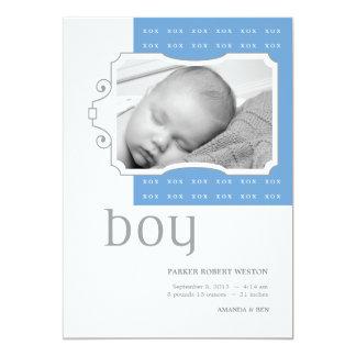 XOXの男の子のカスタムな写真の誕生の発表 カード