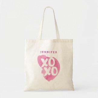 XOXOのピンクの水彩画のしぶき トートバッグ