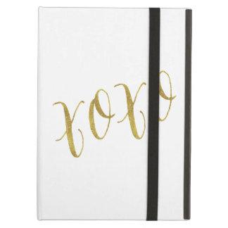 XOXOの引用文の模造のな金ゴールドのグリッターの背景のテンプレート iPad AIRケース