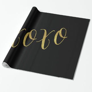 XOXOの引用文の模造のな金ゴールドホイルのグリッターの背景 ラッピングペーパー