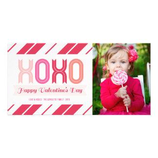 XOXOの愛およびキスのバレンタインデーの写真カード カード