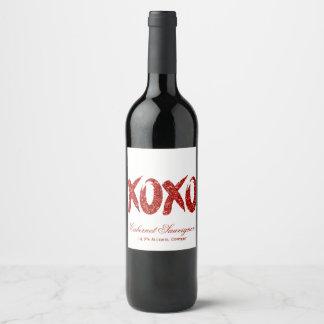 XOXOの赤いグリッター|のバレンタインデーの上品ブラシストローク ワインラベル