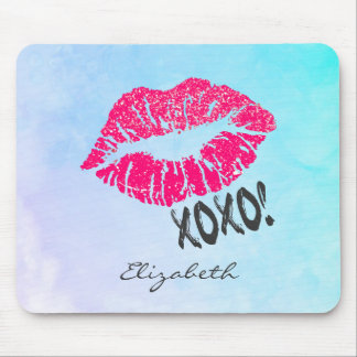 xoxoのKissyのセクシーなピンクの唇! 名前入り マウスパッド